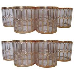 Vintage Barware Rocks Cocktail Glasses in 24-Karat Gold by Imperial Glass, 1970s