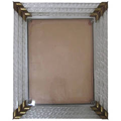 Italian Murano Glass and Brass Picture Frame after Venini, Italy