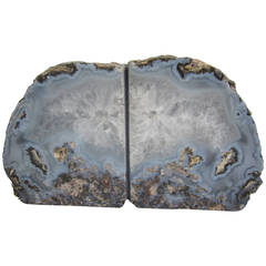 Pair of Sky Blue and White Vintage Geode Bookends