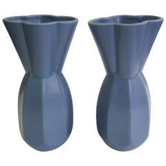 Pair Asian Modern Octagonal Periwinkle Blue Pottery Vases