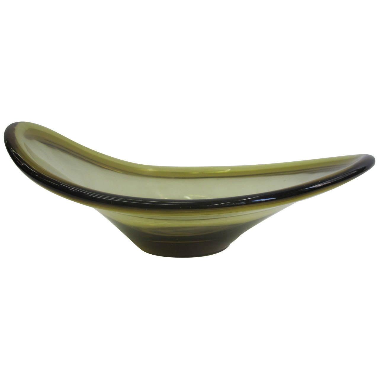 Mid Century Danish Modern Art Glass Bowl In Golden Yellow