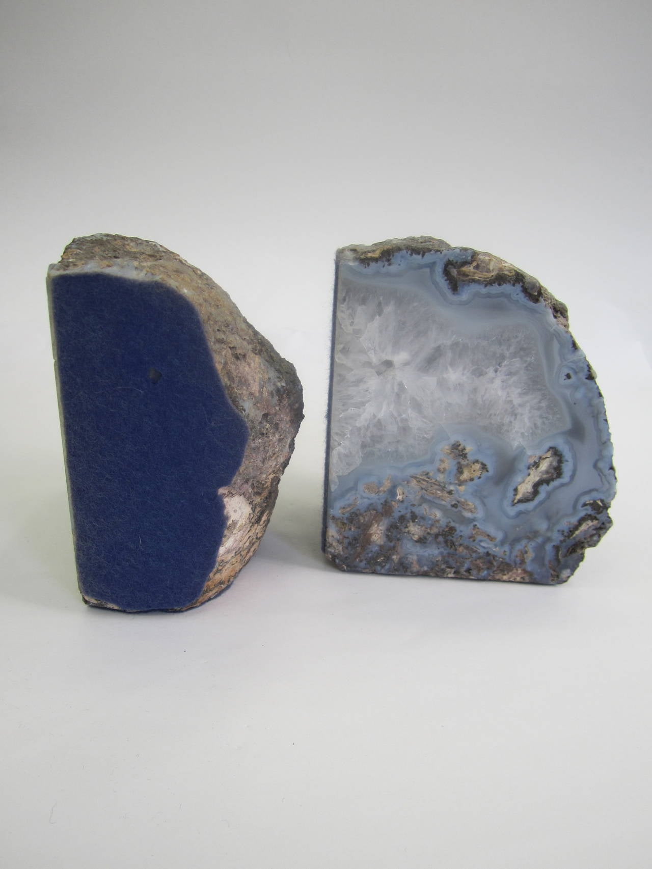 Pair of sky blue and white vintage geode bookends at 1stdibs - Geode bookends ...