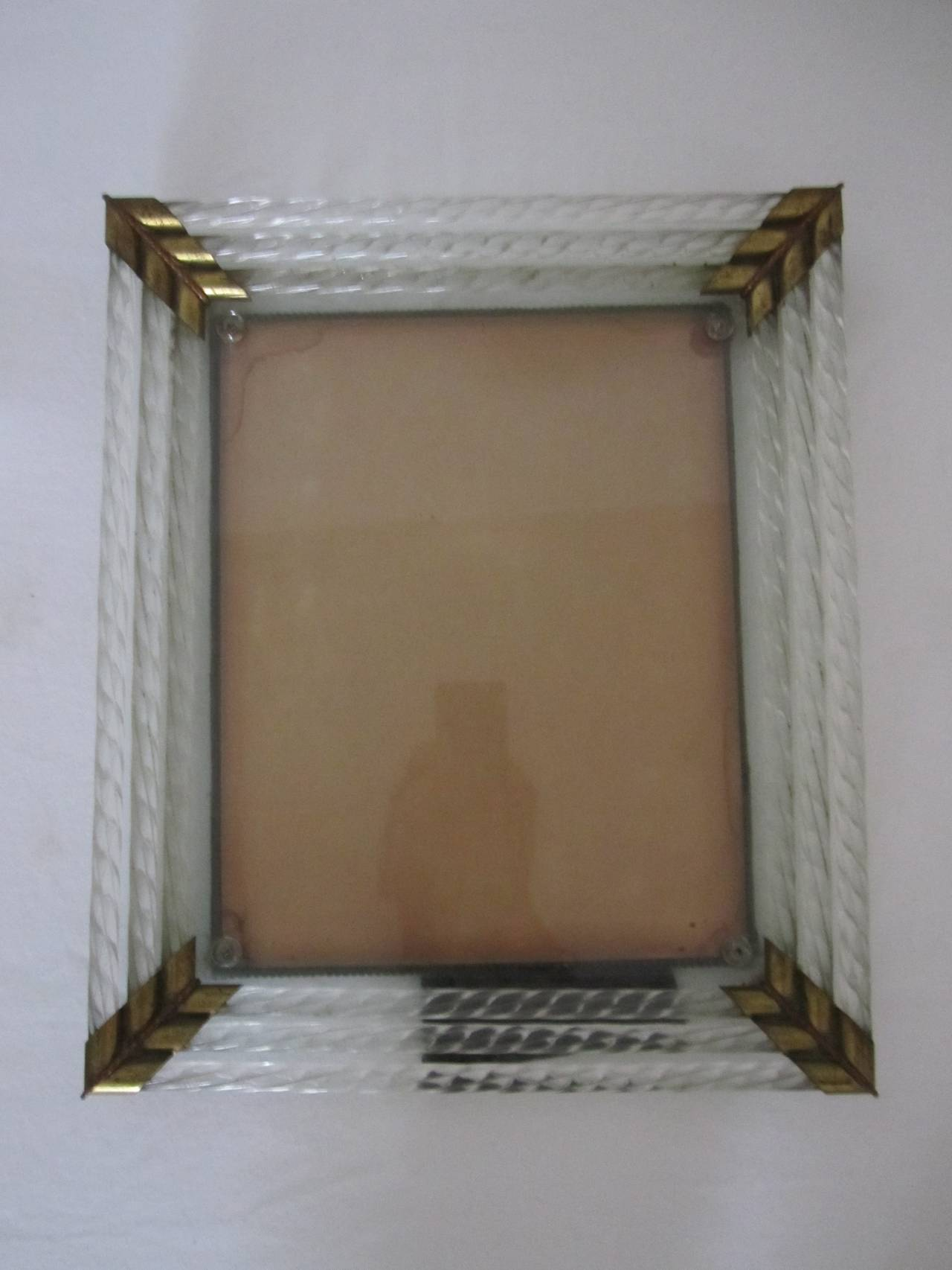 Italian Murano Glass and Brass Picture Frame after Venini For Sale ...