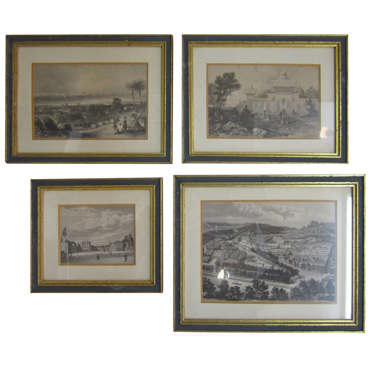 Vintage English Black and White Prints with Blue and Gold Gilded ...