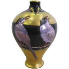 French Art Deco Black and Gold Porcelain Vase