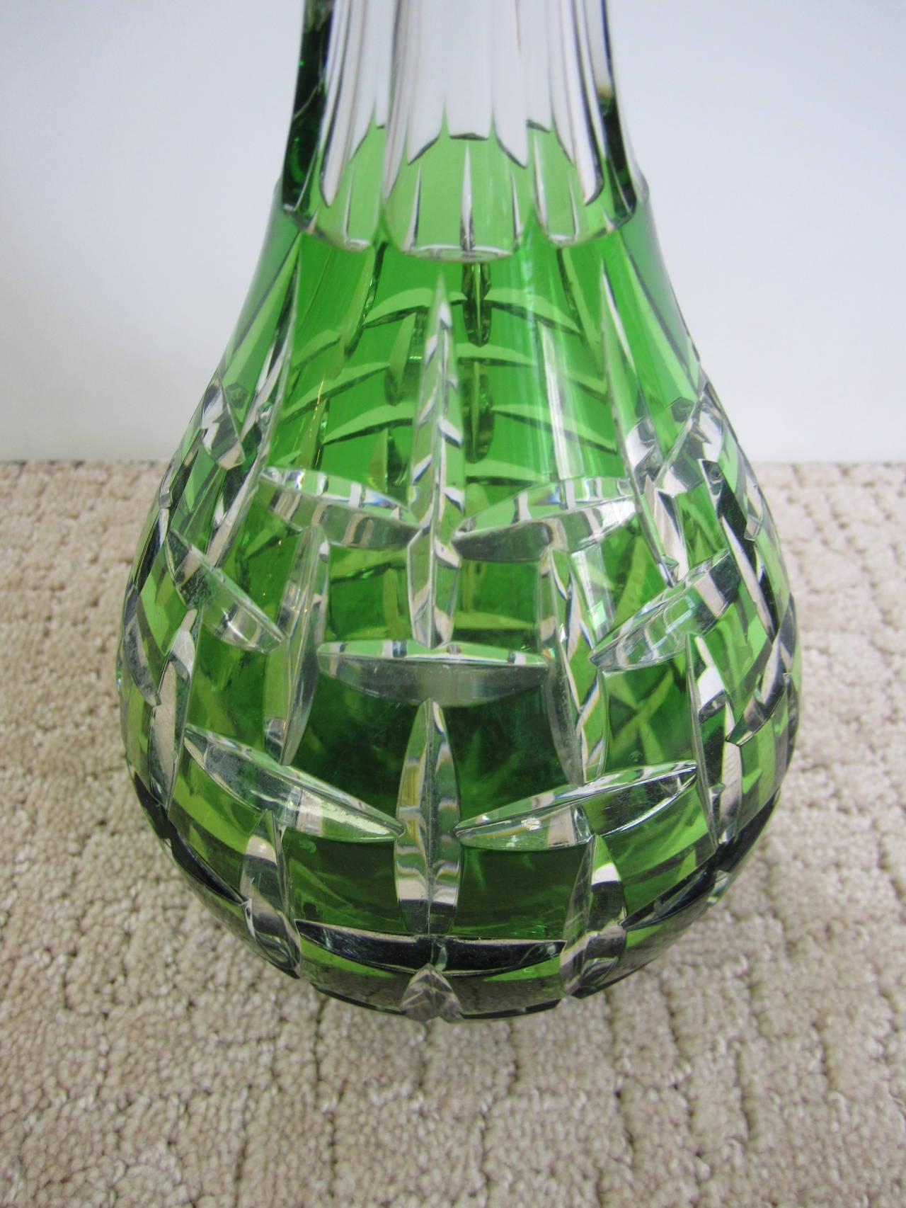 Bohemian Val St. Lambert Style Emerald Green Crystal Liquor Decanter For Sale