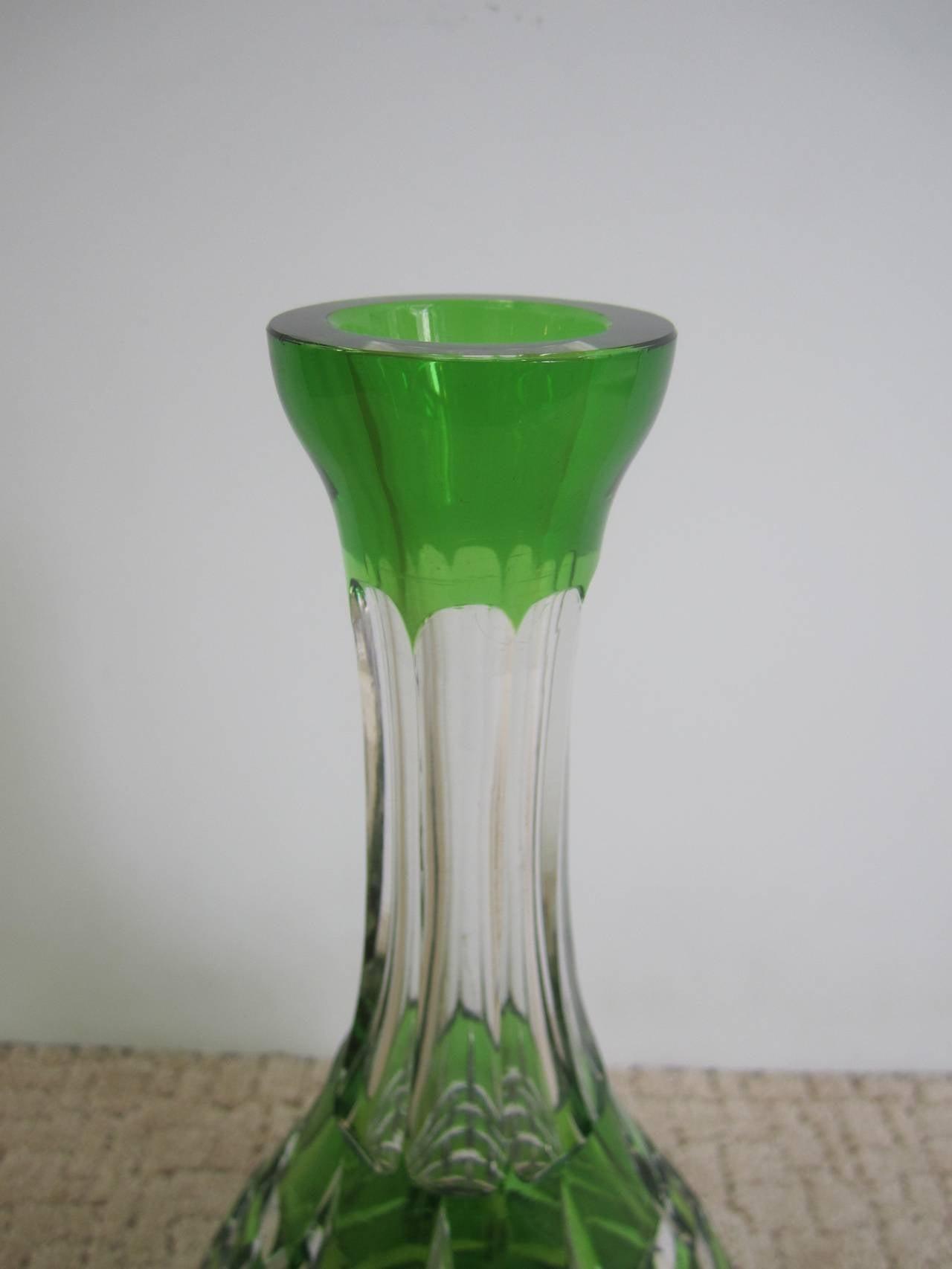 European Val St. Lambert Style Emerald Green Crystal Liquor Decanter For Sale