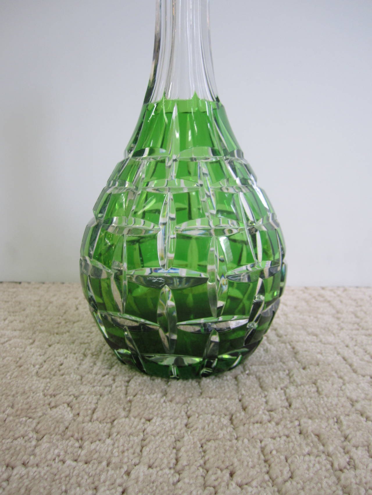20th Century Val St. Lambert Style Emerald Green Crystal Liquor Decanter For Sale