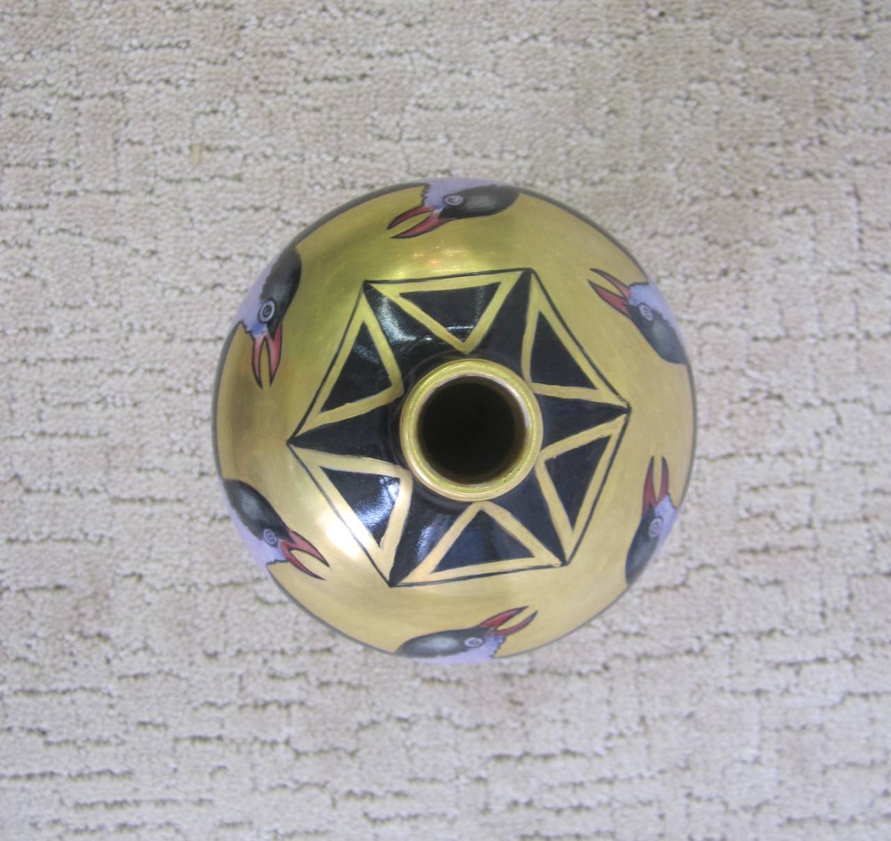 Art Deco Black and Gold Hand-Painted Porcelain Vase, France 3