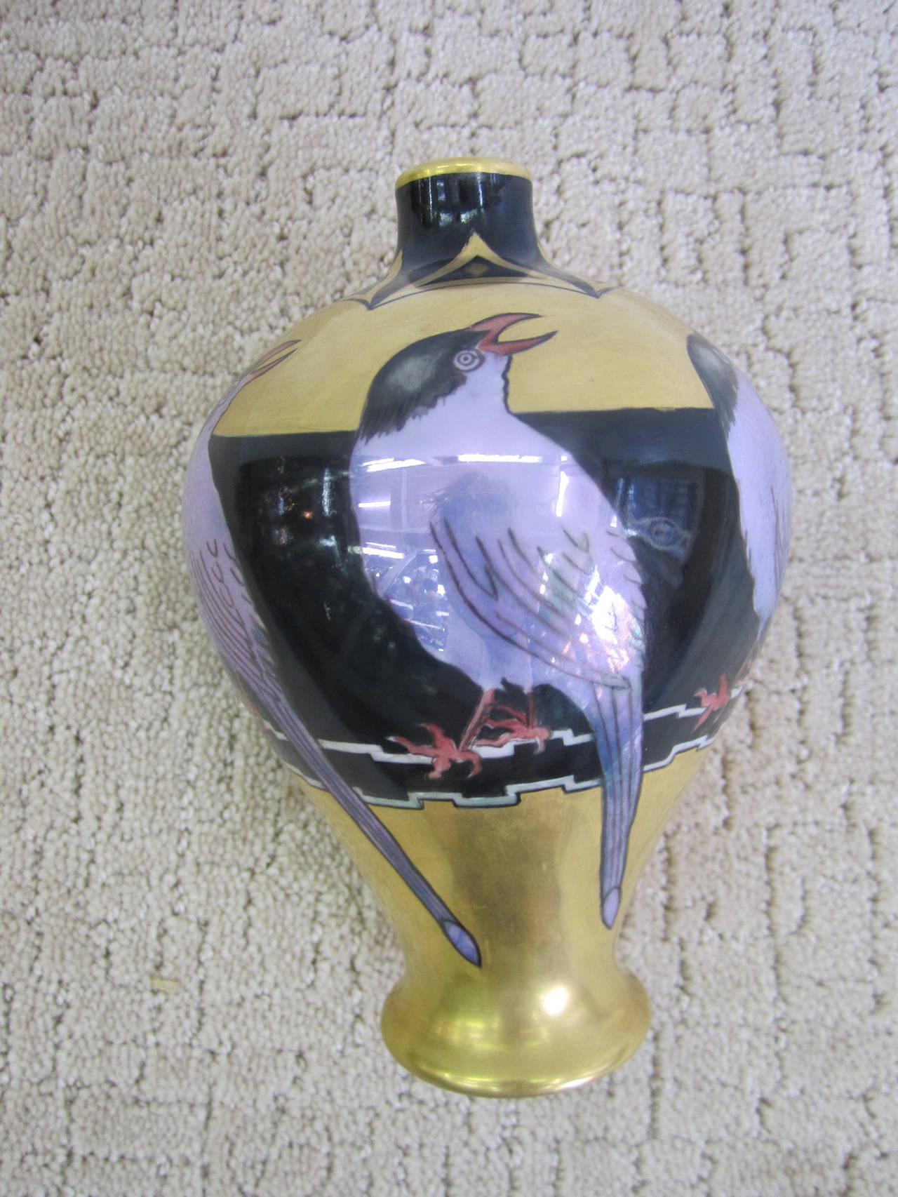 Art Deco Black and Gold Hand-Painted Porcelain Vase, France 4
