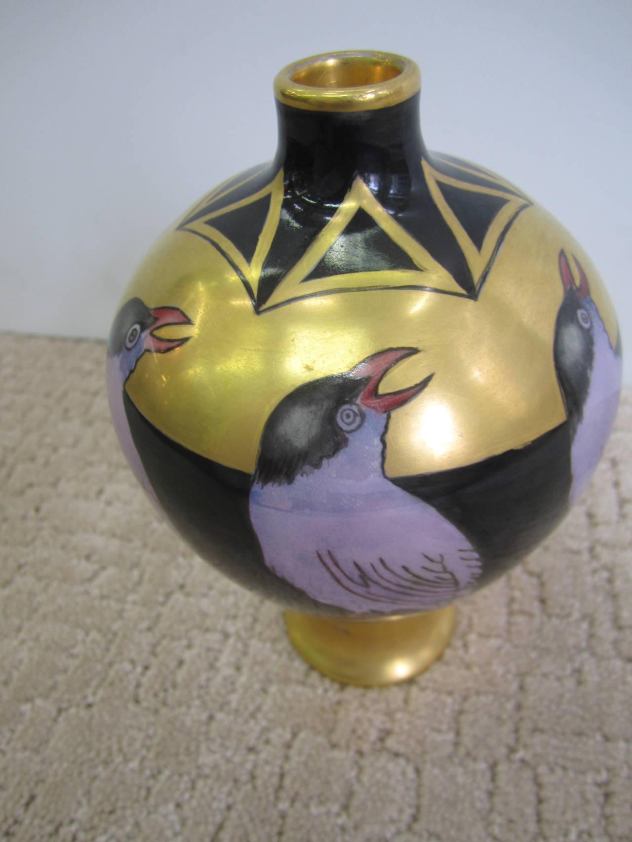 Art Deco Black and Gold Hand-Painted Porcelain Vase, France 5
