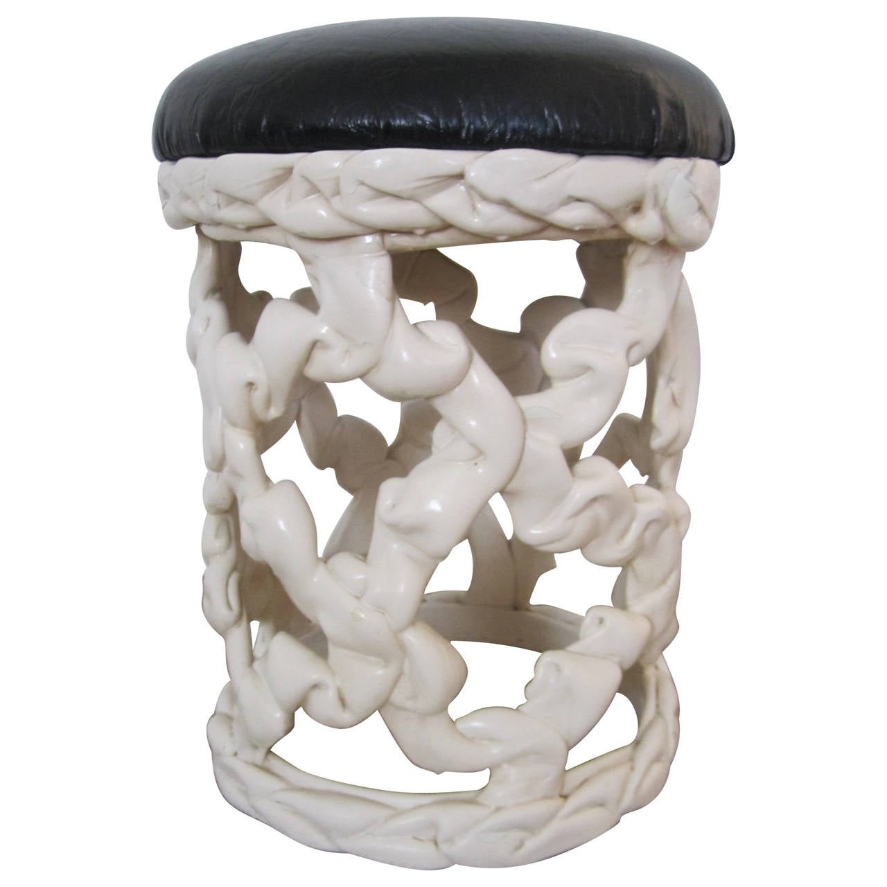 Vintage Black and White Ribbon Stool in the Style of Tony Duquette, 1970s