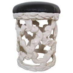 Black and White Ribbon Stool in the Style of Tony Duquette, 1970s