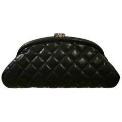 Authentic Chanel Black Leather Classic Clutch Handbag