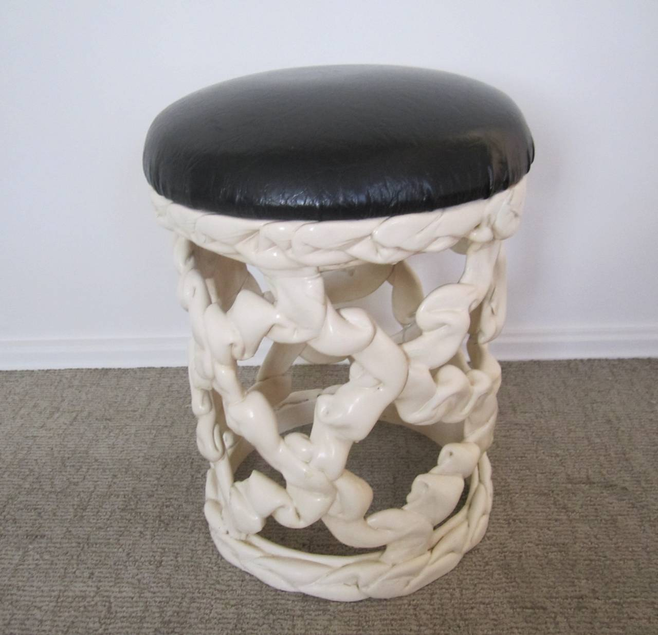 Vintage Black And White Ribbon Stool In The Style Of Tony