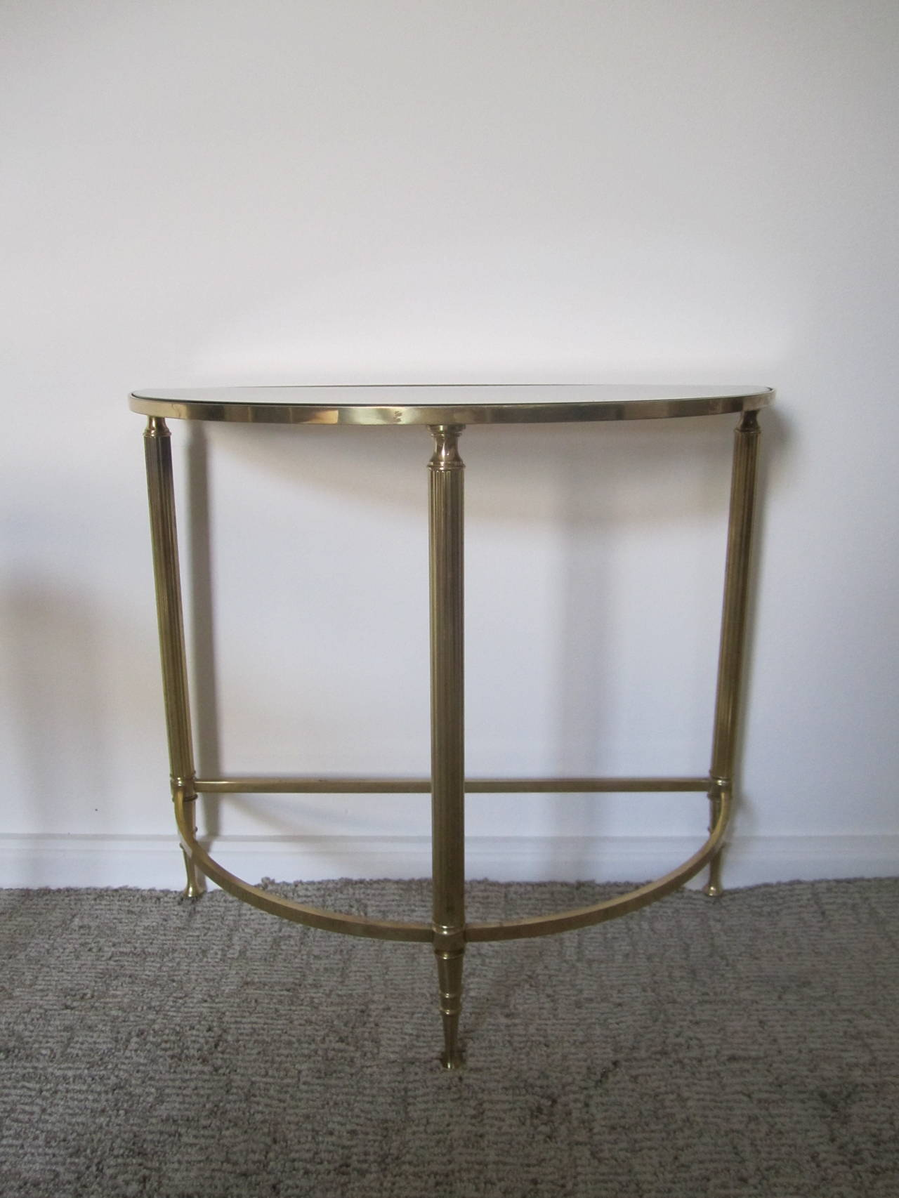 Mid Century Brass Smoked Glass Mirrored Side Tables After