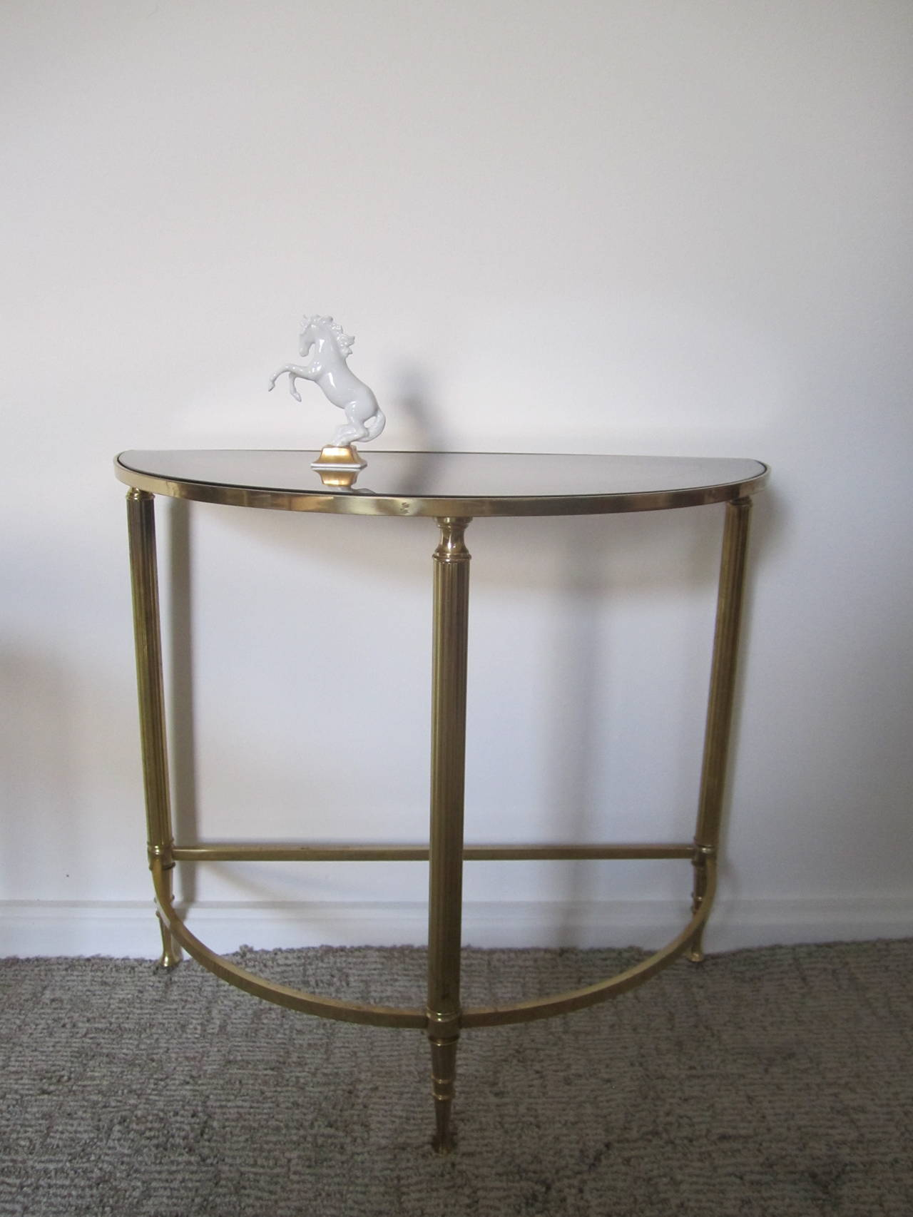 Mid Century Brass Smoked Glass Mirrored Side Tables After Maison Bagu S At 1stdibs