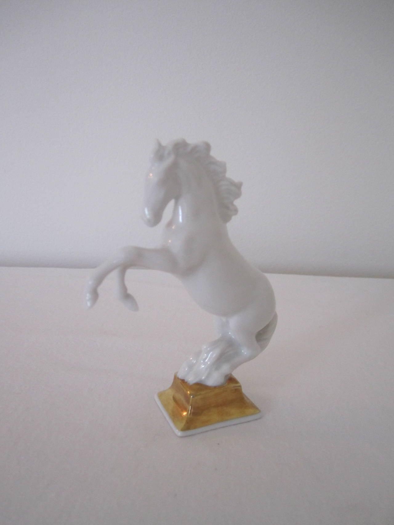 Glazed Blanc-de-Chine Porcelain Horse Sculpture by Max Hermann Fritz for Rosenthal