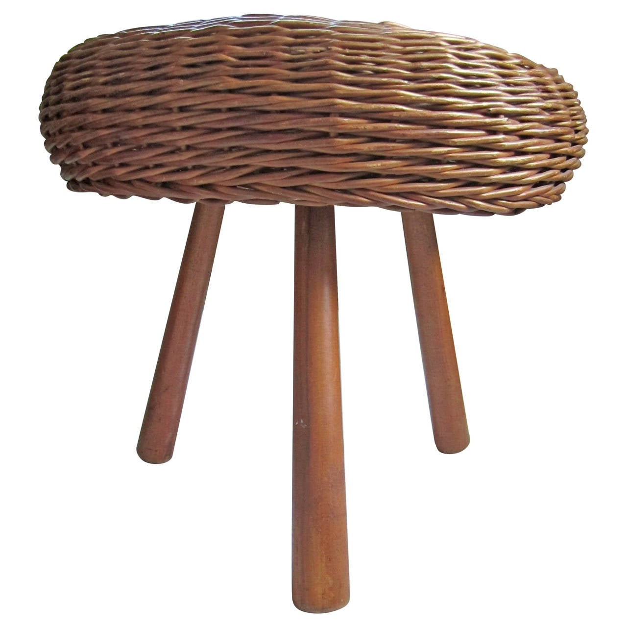 Midcentury European Wicker and Wood Stool or Side Table
