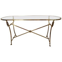 Midcentury Italian Console Table in Brass and Glass