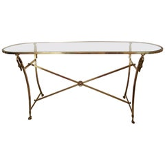 Italian Console Table in Brass and Glass