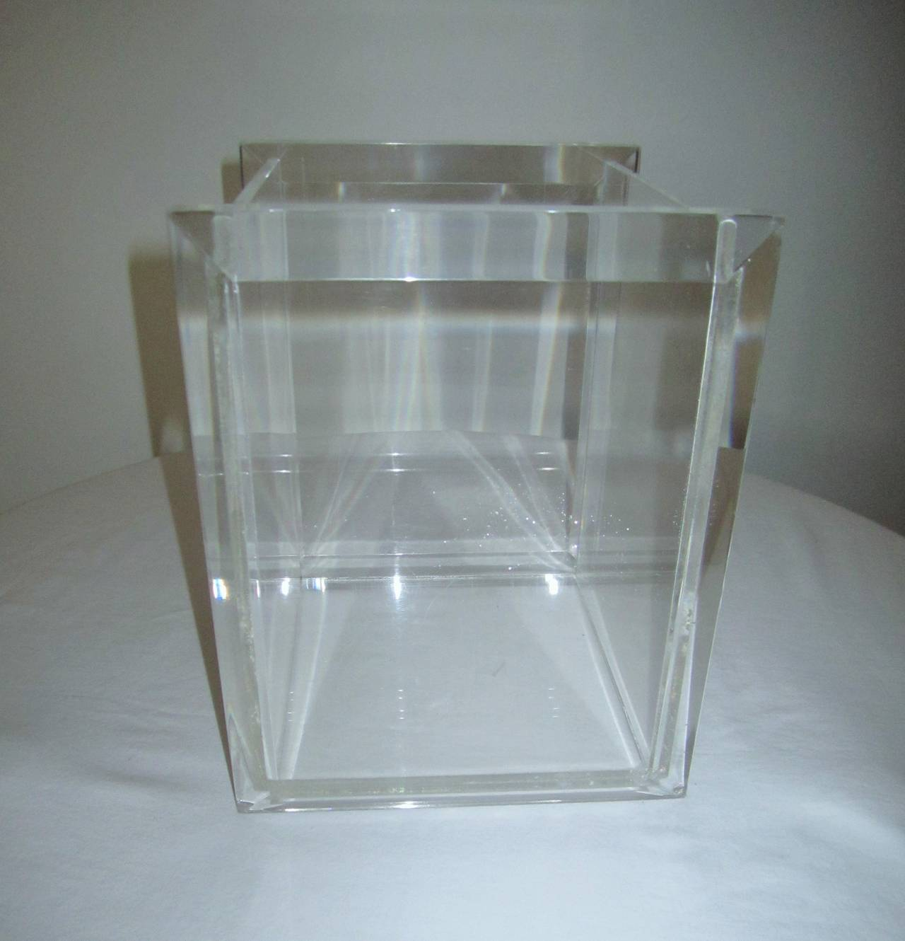 1970s lucite waste basket in the style of charles hollis jones at