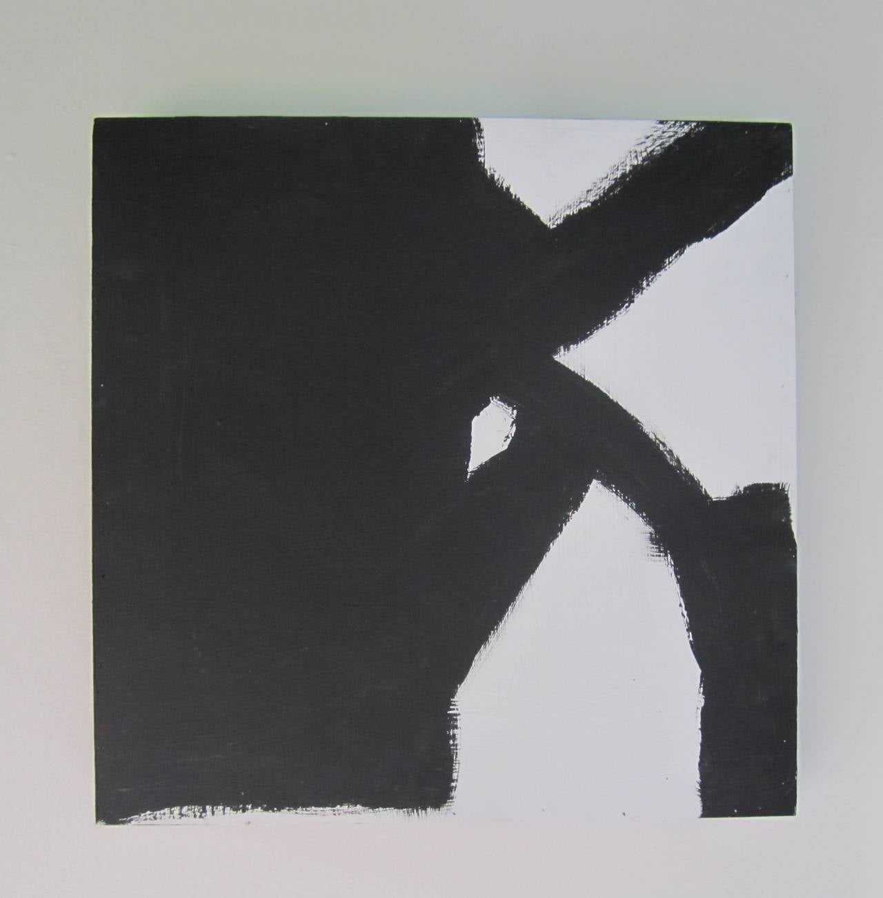A black and white abstract painting. Artwork/painting is on a wood canvas and can be positioned or hung by any of its sides giving the piece four different looks/perspectives. Piece is unsigned, circa 2015.   Item available here online. By request,