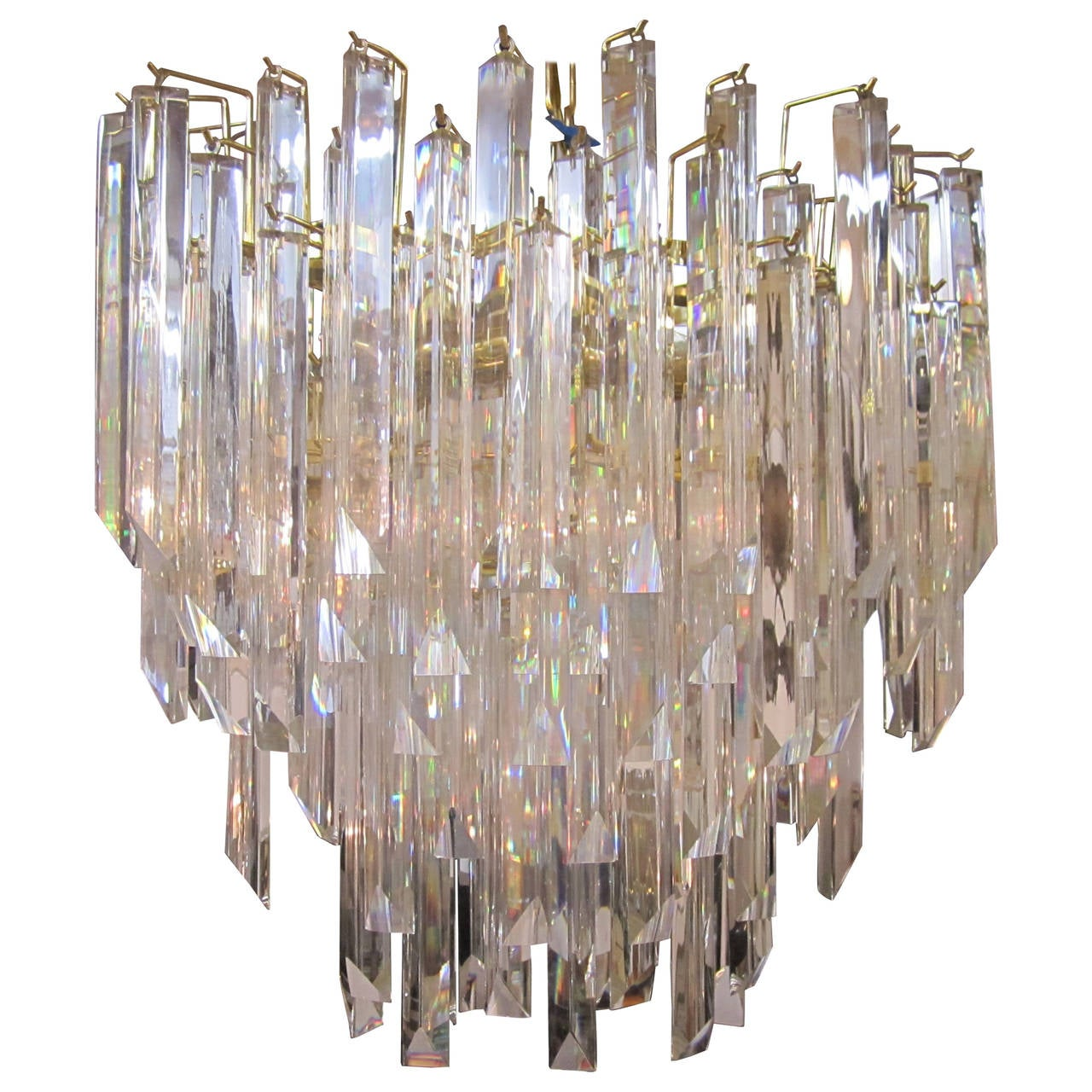 Substantial Crystal Chandelier with Brass Frame in the Style of Venini