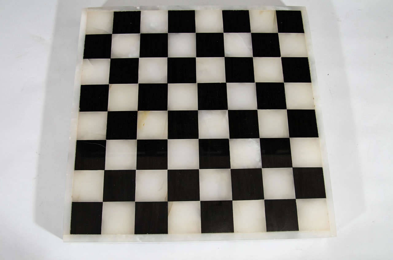 Italian Black And White Marble And Onyx Chess Backgammon