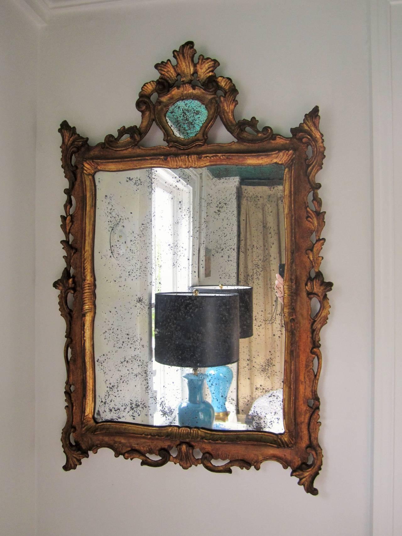 Italian Giltwood Wall Mirror Circa 1920s At 1stdibs