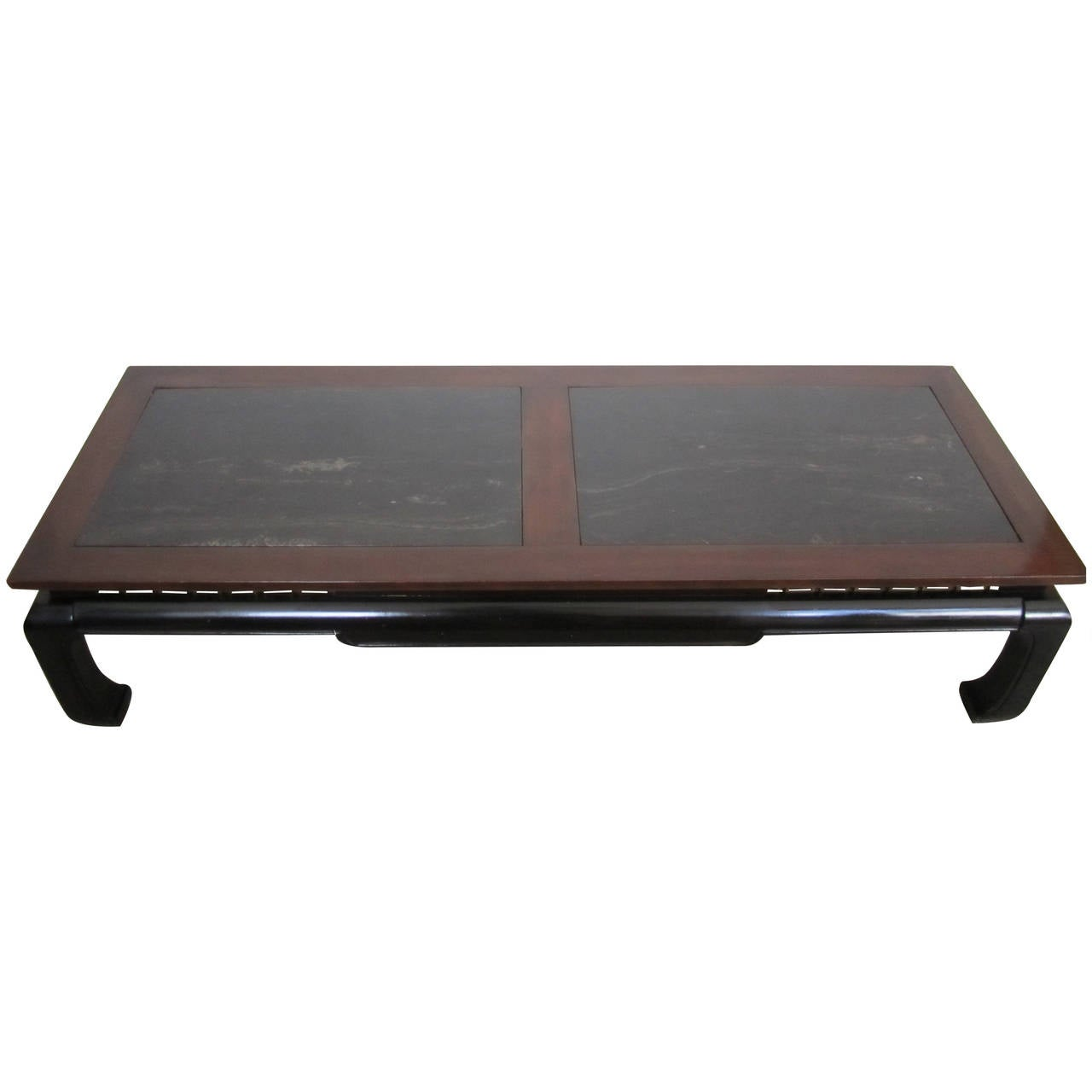 Vintage Modern Chinoiserie Coffee Table In Black Lacquer And Black Marble For Sale At 1stdibs