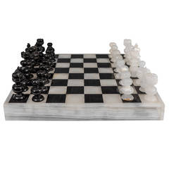Italian Black and White Marble and Onyx Chess, Backgammon, and Tic-Tac-Toe Set