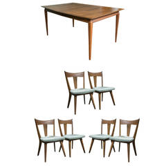 Heywood Wakefield Solid Birch Table and Six Chairs
