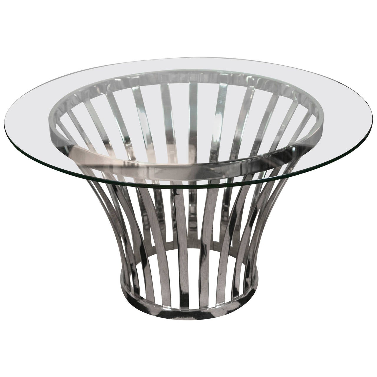 Mid century round glass and metal base coffee table at 1stdibs for Round glass top coffee table with metal base