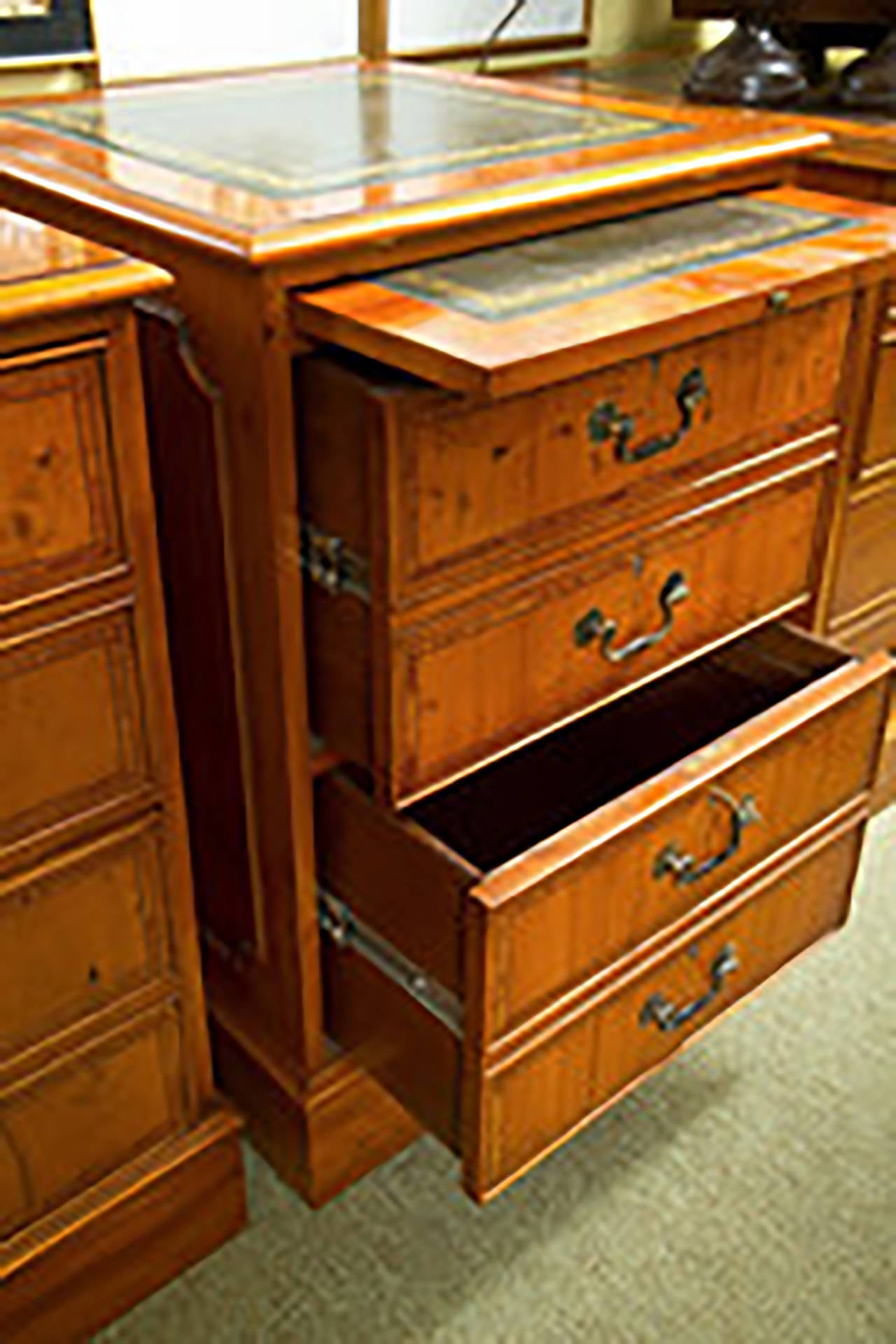 english two drawer yew wood file cabinet for sale at 1stdibs. Black Bedroom Furniture Sets. Home Design Ideas