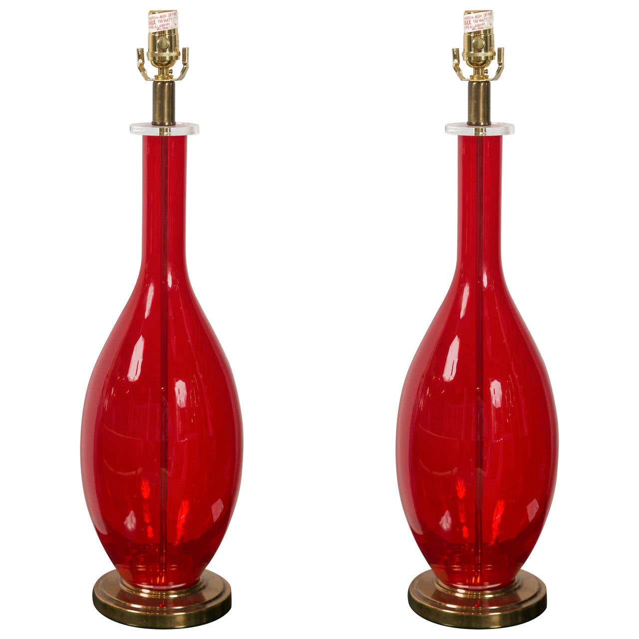 Red Chandelier Table Lamp: Pair Of Red Glass Table Lamps At 1stdibs