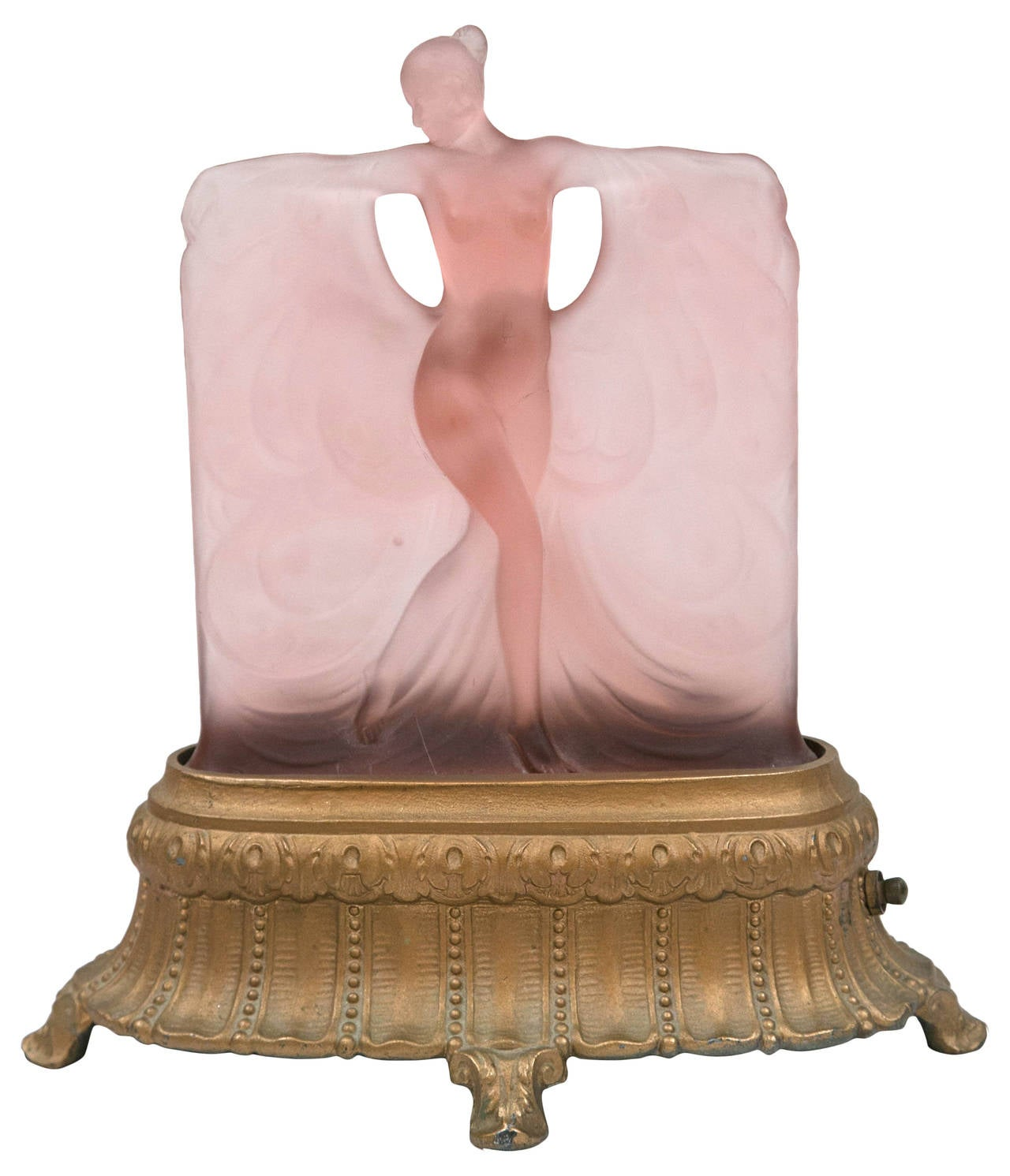 Art Deco Frosted Glass Lamp In Style Of Lalique At 1stdibs