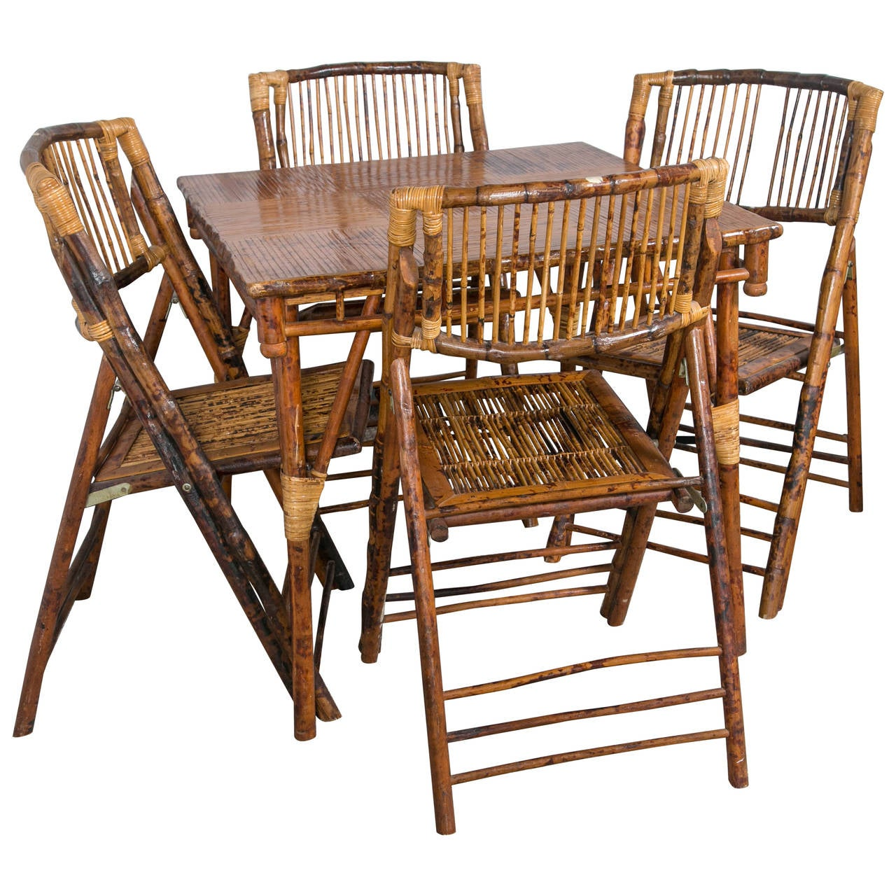 Antique Bamboo Table with Four Folding Chairs at 1stdibs