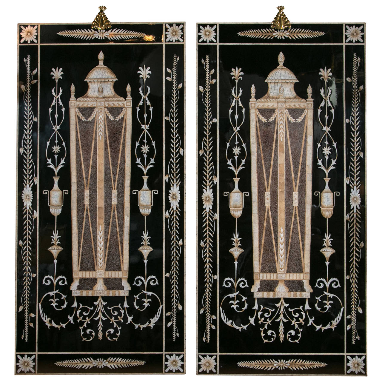 Pair Of Eggshell Lacquer Wall Panels By Maitland Smith At