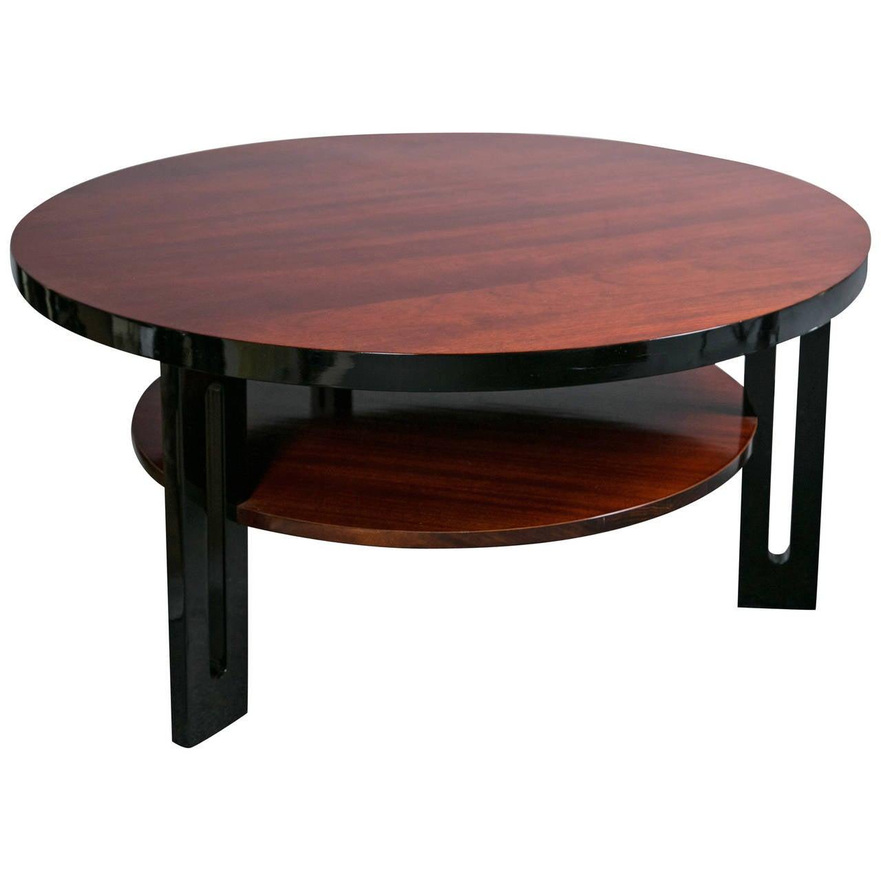 Mahogany And Ebony Art Deco Two Tier Round Coffee Table At 1stdibs