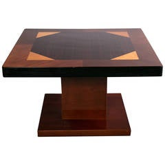 Mahogany Art Deco Square Coffee or Side Table with Inlaid Multiwood Top