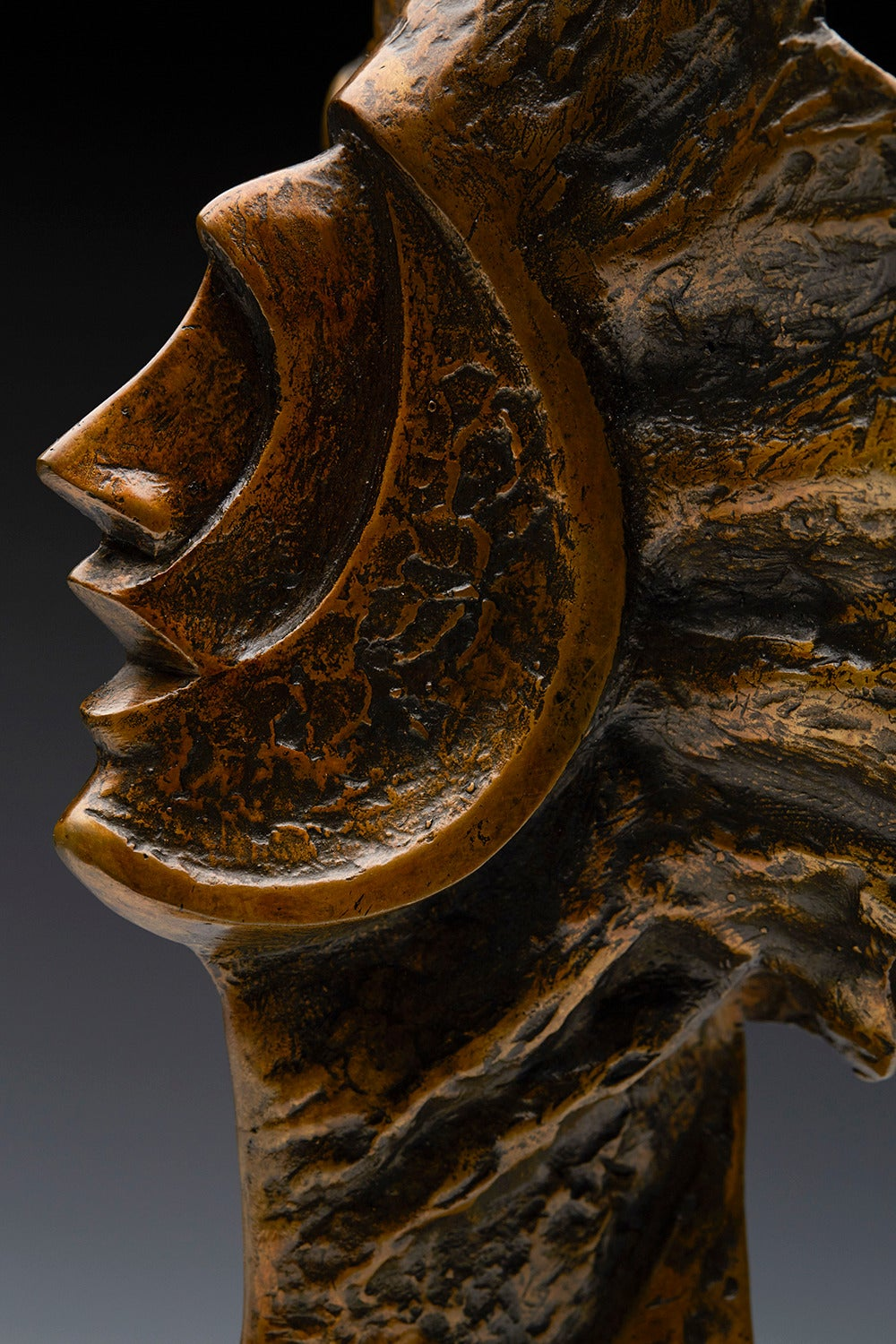 Carved Profile Heads, Limited Edition Bronze Sculpture by John Farnham For Sale