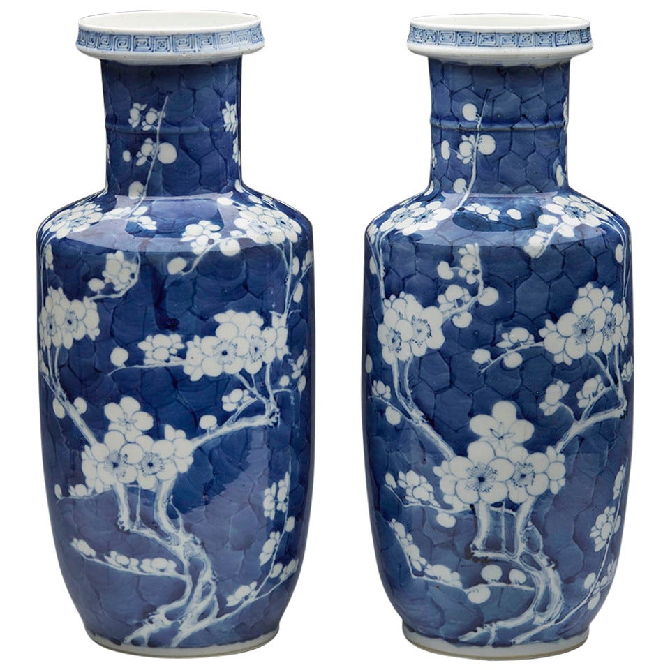 Pair of antique chinese rouleau kangxi mark prunus flower vases at pair of antique chinese rouleau kangxi mark prunus flower vases for sale floridaeventfo Choice Image