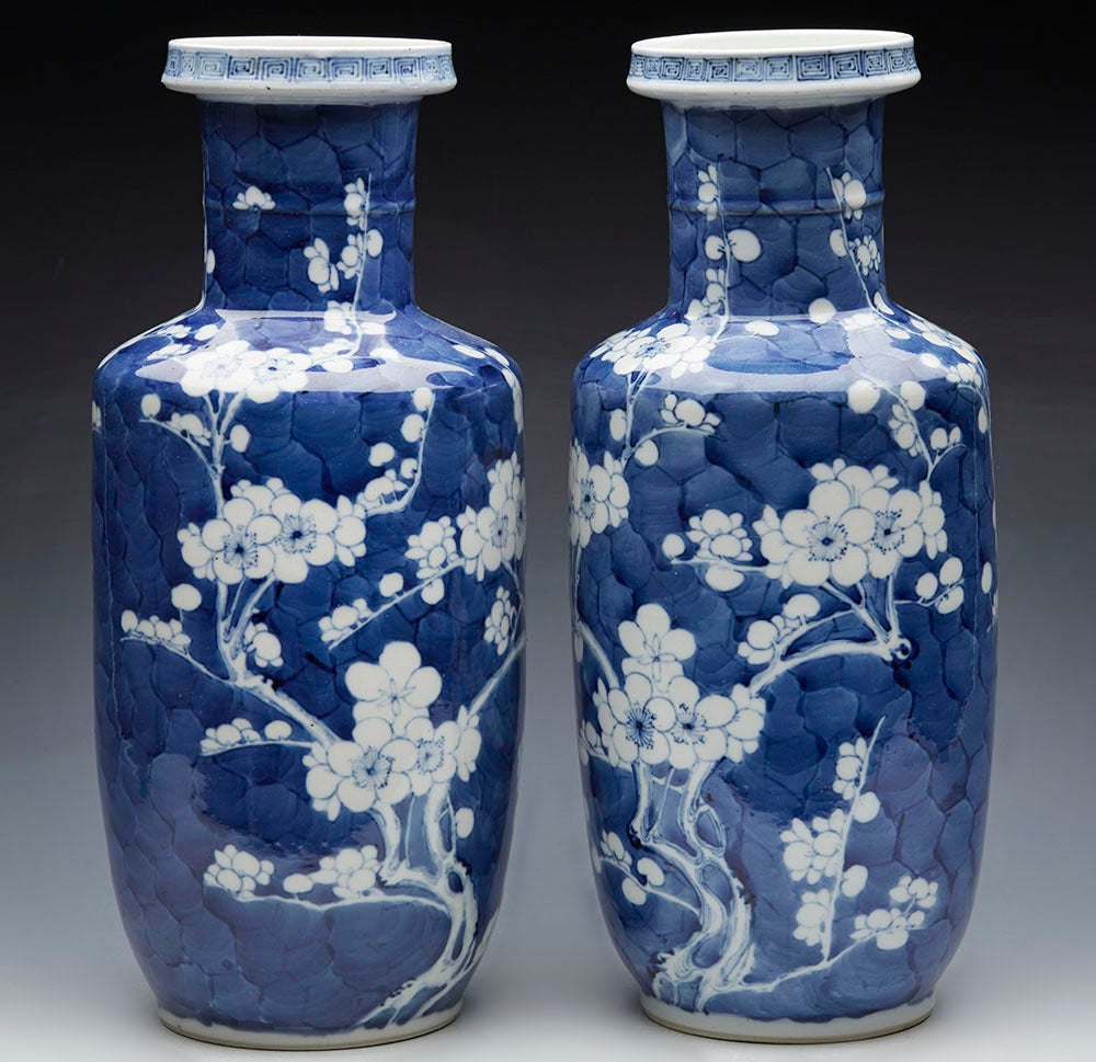 Pair of antique chinese rouleau kangxi mark prunus flower vases at a pair of antique chinese porcelain rouleau vases decorated with blossoming prunus mei hua floridaeventfo Choice Image