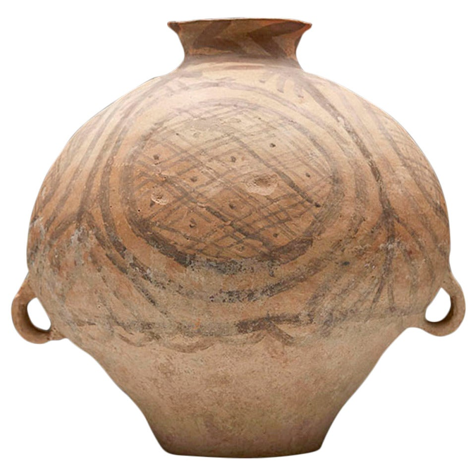 Neolithic Chinese Painted Terracotta Twin-Handled Jar, Third Millennium B.C. For Sale