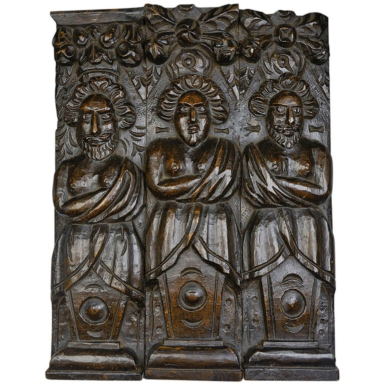 Antique Carved Architectural Wooden Figural Plaque, 17th Century For Sale
