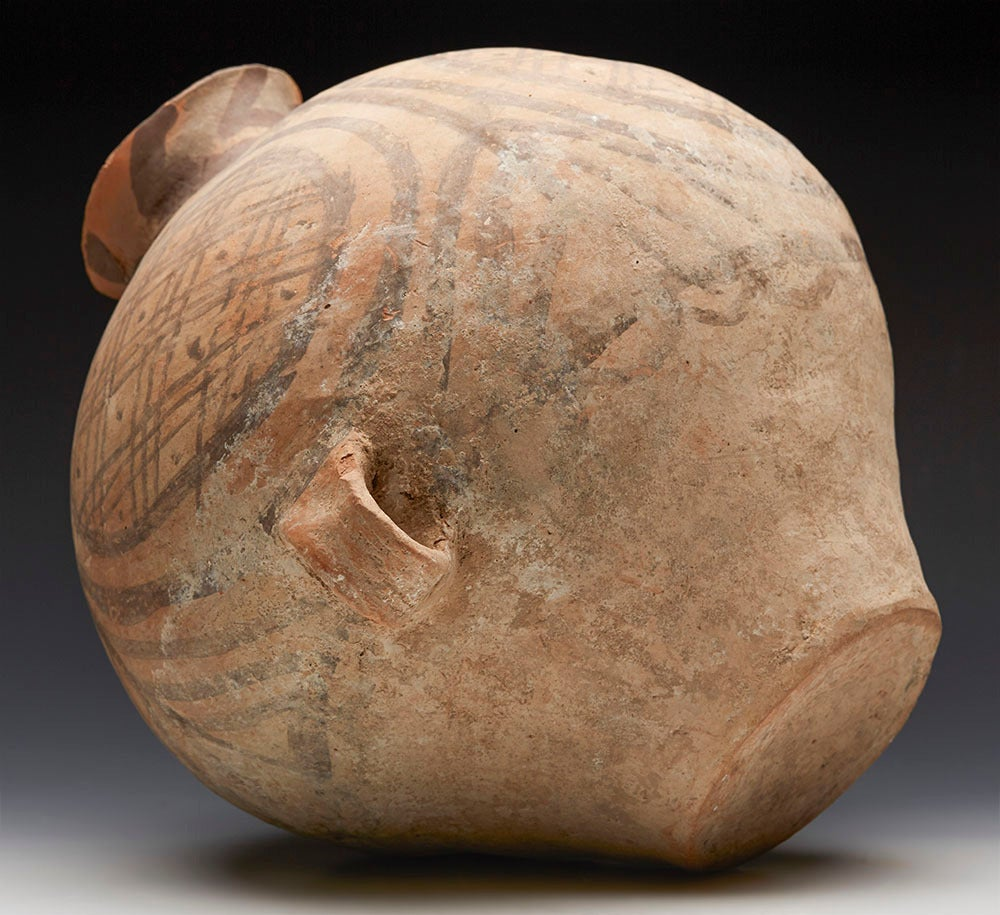 18th Century and Earlier Neolithic Chinese Painted Terracotta Twin-Handled Jar, Third Millennium B.C. For Sale