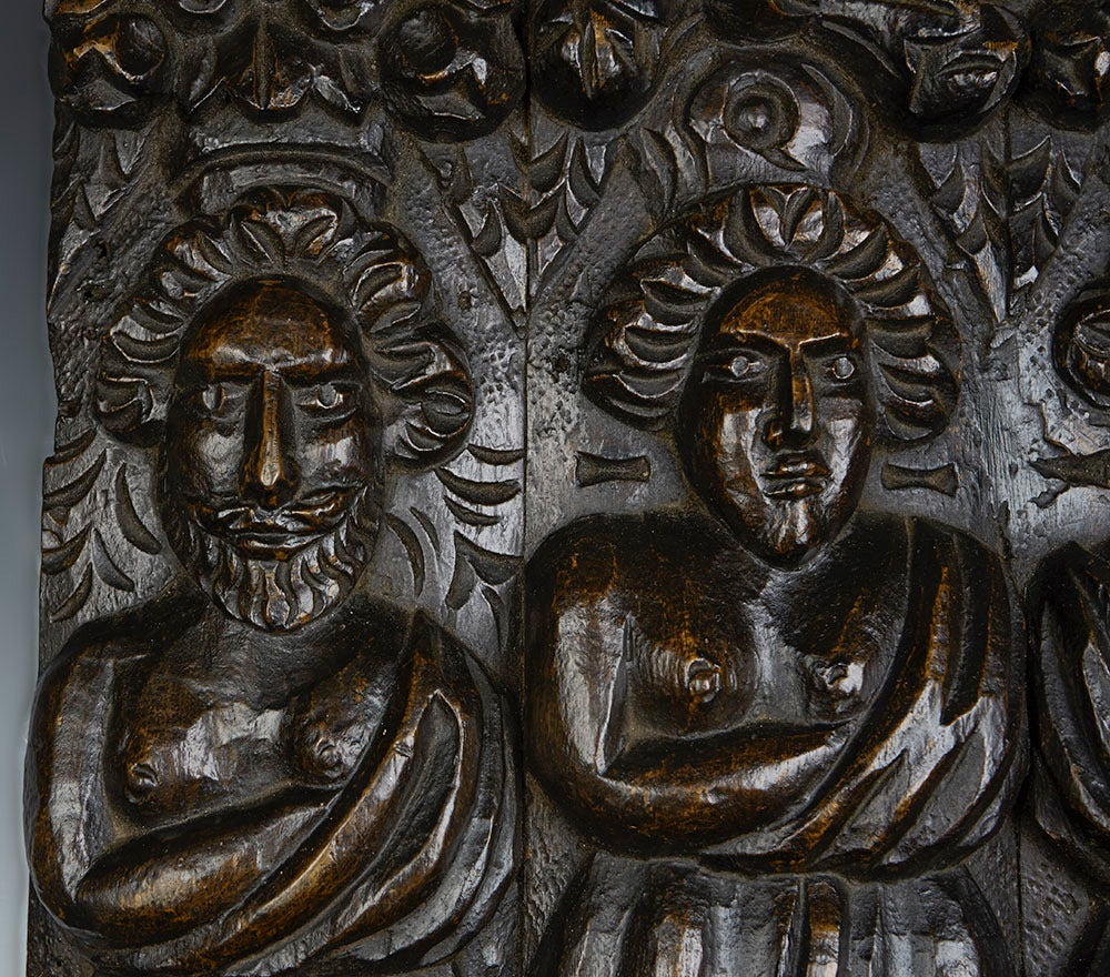European Antique Carved Architectural Wooden Figural Plaque, 17th Century For Sale