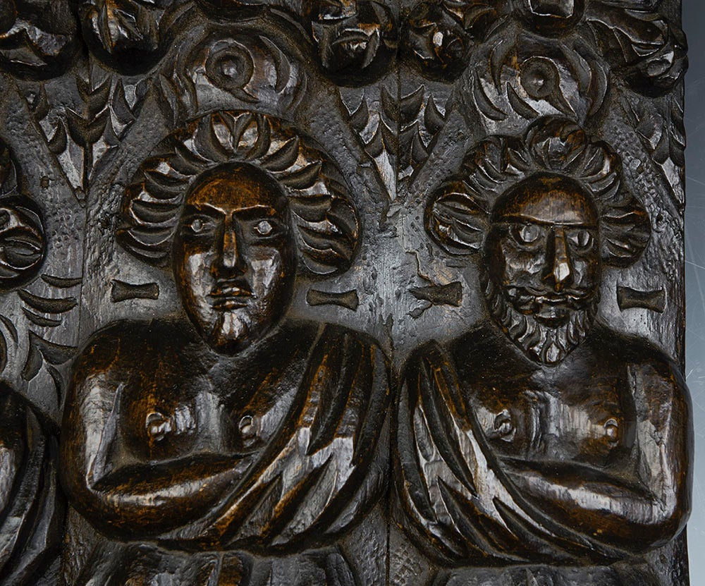 Antique Carved Architectural Wooden Figural Plaque, 17th Century In Excellent Condition For Sale In Bishop's Stortford, Hertfordshire