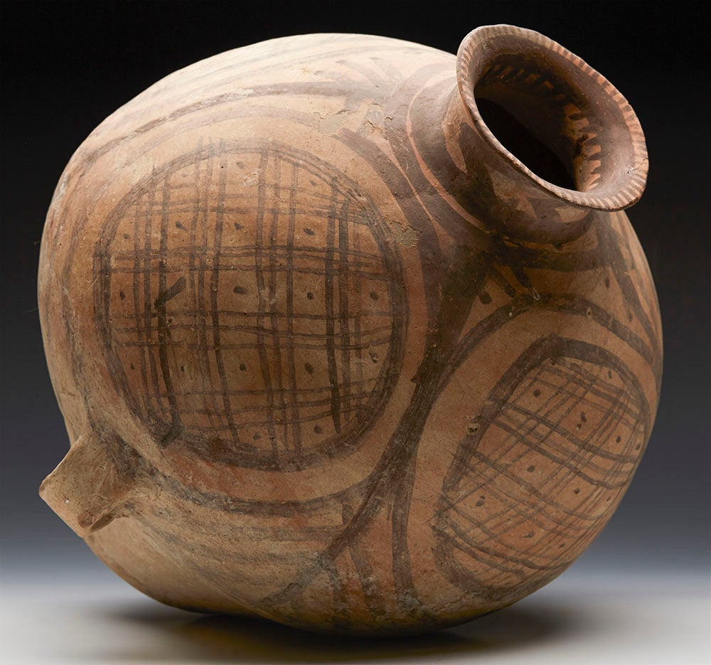 Neolithic Chinese Painted Terracotta Twin-Handled Jar, Third Millennium B.C. For Sale 4